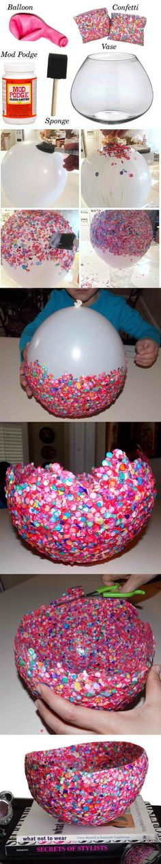 Cool confetti bowl!  This looks like a fun and easy project for a rainy day.