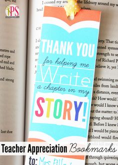 Teacher Appreciation Bookmarks - Give along with a favorite book for a perfect year-end gift!