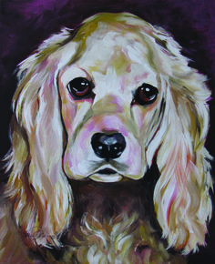 Cocker Spaniel commission.  Acrylic on canvas.  Original sold.  More pet art and reproductions available see www.karrenmgarces.com
