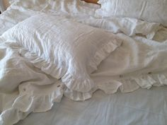 Custom made Pair Shabby chic Pre washed 100% Natural Linen  pillow case cover shams ruffled beige white queen king