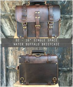 Marlondo Leather Clearance Single Space Bags - These Bags are all made with chrome tanned water buffalo. These hides have some mottled color to them. They also have some dark spots and wrinkles.