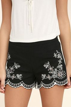 Lulus - Lulus Lookout Point Black Embroidered Shorts - AdoreWe.com