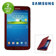"""2-Piece Set: Samsung Tab 3 Google Android 4.1.2 OS Dual-Core 1.2GHz 8GB Dual-Camera 7"""" Tablet PC & Case"""