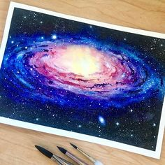 The Andromeda Galaxy painting space nebula watercolo - - Andromeda galaxy nebula Painting Space watercolo # Galaxy Painting Acrylic, Easy Canvas Painting, Watercolor Galaxy, Watercolor Art, Body Painting, Canvas Canvas, Galaxy Drawings, Space Drawings, Andromeda Galaxy