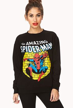 The Amazing Spider-Man Sweatshirt | FOREVER21 - 2000127411 I can NEVER have too many spiderman sweatshirts/shirts. (: