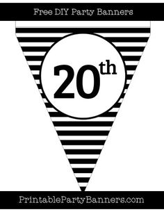 Black and White Pennant Horizontal Striped Ordinal Number 20th