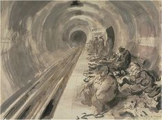The interior of Leicester Square underground station with figures lying asleep on the floor of the station platform. There is a large man sitting smoking a pipe in the foreground, and several ARP wardens wearing helmets standing further down the platform. The Blitz, Air Raid, War Photography, Love Illustration, Built Environment, Mark Making, World War Two, My Arts, Leicester Square