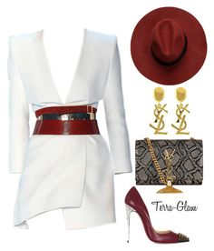 """Sexy Wine"" by terra-glam ❤ liked on Polyvore featuring Alexandre Vauthier, Christian Louboutin and Yves Saint Laurent"