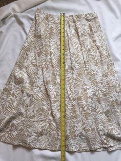 Christopher & Banks Skirt, Safari Modest Tan & White, Size S, W/ Liner, No Slit #ChristopherAndBanks #ALine
