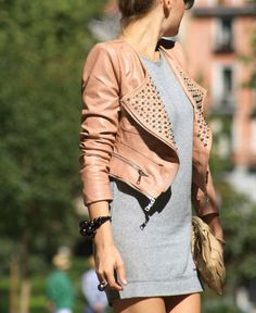 Simple and fabulous outfit! Grey shirt dress and pink leather studded jacket! LOVE!