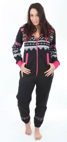 A black Aztec print adult onesie suitable for men and women black colour with white and pink pattern and a chunky zip 65 cotton 35 Polyester This