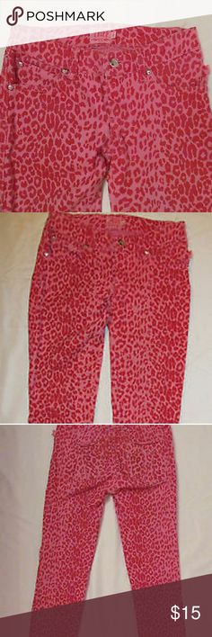 Tripp NYC Leopard Print Pants Juniors size 9. Material is slightly stretchy. Cute little skull buttons around the pockets. Pink with red spots. Great for a cutesy fun look or an edgy rocker look. Can be worn with some funky heels or comfy sneakers. These pants can be dressed up with  a sexy white top or dressed down with a distressed band T. Tripp nyc Pants Straight Leg