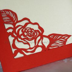 1Set Sample Ramada Rose Floral Cutout Red Wedding Invitation, With Inside Pages, Envelopes & Stickers, Free Shipping