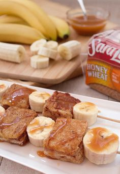 Banana Breakfast Kabobs: Brunch time fun time! Make sweet little stuffed French toasts using cream cheese, dulce de leche, Sara Lee Honey Wheat Bread and a cinnamon egg batter. Serve skewered with fresh bananas and a dulce de leche drizzle – and keep 'em comin'!