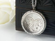 Vintage Locket | Sterling Silver | Large Round Locket | 1973 English Silver Hallmarks | Forget-Me-Not Flower - 34 Inch Long Chain Included