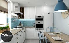 Mała funkcjonalna kuchnia w kontrastowej ale delikatnej kolorystyce - zdjęcie od Monostudio Wnętrza - Kuchnia - Styl Skandynawski - Monostudio Wnętrza