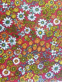 / Dark red and orange flower print BELDECOR unused cotton fabric - price per metre - French vintage Flower Pattern Design, Motif Design, Pattern Art, Print Patterns, Floral Patterns, Floral Fabric, Fabric Flowers, Cotton Fabric, Fleur Orange