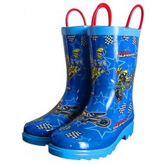 Smooth Industries MX Superstars Youth Rain Boots Motocross Store, Motocross Gear, Kids Gifts, Rubber Rain Boots, Superstar, Youth, Industrial, Brown, Blue
