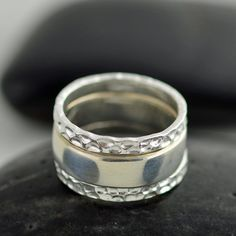 Stackable mothers ring, Sterling silver rings, hammered stacking rings, unique rings, personalized hand stamped ring on Etsy, $70.00