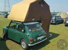 Tuck In Time folks & we go up top tonight with this tidy lil Mini from Germany sporting a cool Roof Top Tent! Love these set ups. Top Tents, Roof Top Tent, Car Camper, Campers, Mini Camper, Camper Van, Galvanized Metal Roof, Steel Roofing, Tin Roofing