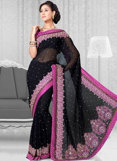 Beautiful Faux Georgette Saree - love colors