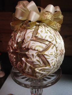 Gold Handmade Quilted Star Ornament Quilted Ball by AveryOrnaments