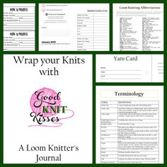 A Loom Knitters Journal - PDF printable with Yarn cards, project sheets, WIP cards for your project bags, calendars and terms