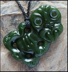 Jade tiki pendant, hand carved in real jade