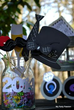 Photo props at a  New Year party!  See more party ideas at CatchMyParty.com!  #partyideas #newyears