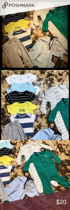 Bundle of 9 Month Carters Boys Items  👶🏻 Bundle of 9 Month Carters Boys Items 👶🏻 two full pajamas,one with adorable bear footies, one pair of dinosaur pajama pants, five onesies (blue one has small stain near neck) and one super cute and soft fleece bear jacket. Carters  Other