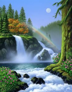 Waterfall Painting by Jerry LoFaro - Waterfall Fine Art Prints and Posters for Sale