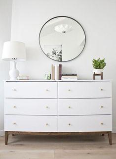Modern White Dresser: A West Elm Inspired Ikea Hack – Diy Furniture Ideas Ikea Pine Dresser, Ikea Dresser Hack, West Elm Dresser, Dresser Ideas, Dresser As Nightstand, Ikea Desk, Ikea Ikea, Closet Ikea, Interior Wood Stain