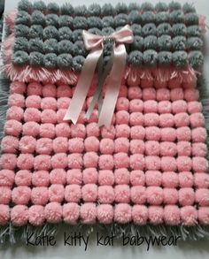 Pom pom turnover baby girl blanket pink and silver ideal for moses basket or car…