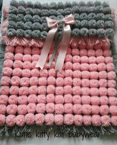 Pom pom turnover baby girl blanket pink and by KatiekittykatXx