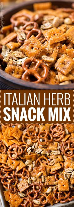 Easy Italian Herb Snack Mix | Baked to buttery perfection, this Italian herb snack mix is the perfect after school or party snack. No need to eat bagged snacks, homemade is really easy! | https://the5oclockchef.com | #snackmix #snacks, #partyfood #chexmix #italianherb