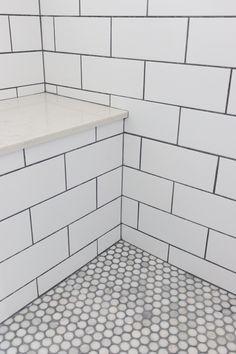 Grey Grout White Subway Tiles