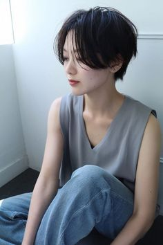Pin on ショートヘア Thick Hair Pixie Cut, Long Hair Cuts, Shot Hair Styles, Long Hair Styles, Korean Short Hair, Girl Short Hair, Pixie Haircut, Hair Looks, Her Hair