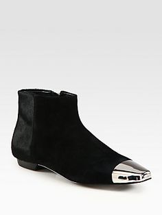 Sigerson Morrison Suede and Calf Hair Cap Toe Ankle Boots