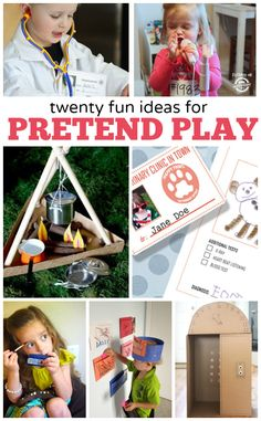 Pretend play sparks our kids imaginations. With the power of pretend they can be anything they want to be! Pretend play sparks our kids imaginations. With the power of pretend they can be anything they want to be! Play Based Learning, Learning Through Play, Kids Learning, Learning Activities, Preschool Activities, Drama Activities, Drama Games, Preschool Projects, Summer Activities