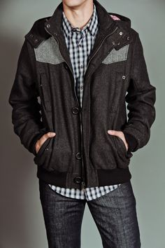 White Picket Fence Hooded Jacket With Grey Shoulders Grey $78
