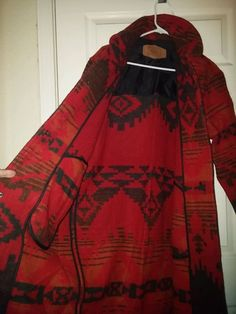 VINTAGE Woolrich Southwestern Indian Blanket Long Wool TRENCH COAT Small UNUSED #WOOLRICH #Trench