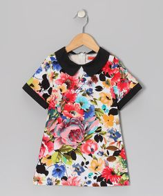 Take a look at this Pink & Black Floral Collar Dress - Toddler & Girls on zulily today!