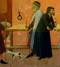Maestro dell'Osservanza (Sano di Pietro?) - Pala di Sant'Antonio abate: Sant' Antonio distribuisce la sua ricchezza ai poveri, dettaglio - tempera su tavola - 1440 circa - Washington, National Gallery of Art