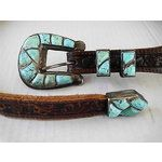 NAVAJO OR ZUNI SILVER & TURQUOISE RANGER SET WITH JU (01/05/2014)...