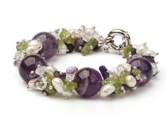 Chunky purple Crystal STONE, Crystal, Peridot and FreshWater Pearl Bracelet