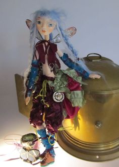 SKYLAR, Steampunk Pixie, paper clay ball jointed puppet doll, Ooak, made in the USA