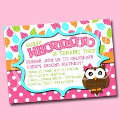 Girls' Guess Whooooo Owl DIY Printable Invitation - 5x7 Format. $12.50, via Etsy.
