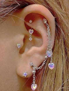 Ear Jewelry, Cute Jewelry, Body Jewelry, Jewelery, Jewelry Accessories, Pretty Ear Piercings, Unique Piercings, Face Piercings, Body Mods