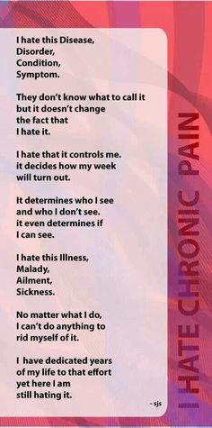 Chronic Pain very interesting article because I have this along with Chiari and many other things❣