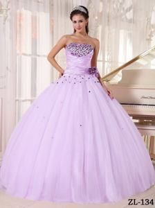 Romantic Lavender Beaded and Ruched Bodice Dresses For Quinceanera